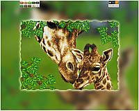 """Схема для вышивки бисером на подрамнике (холст) """"Жирафы. Мамина нежность"""""""