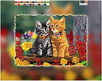 """Схема для вышивки бисером на подрамнике (холст) """"Милые котята"""""""