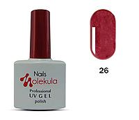 Гель-лак для ногтей Nails Molekula №26 бордовый перламутр