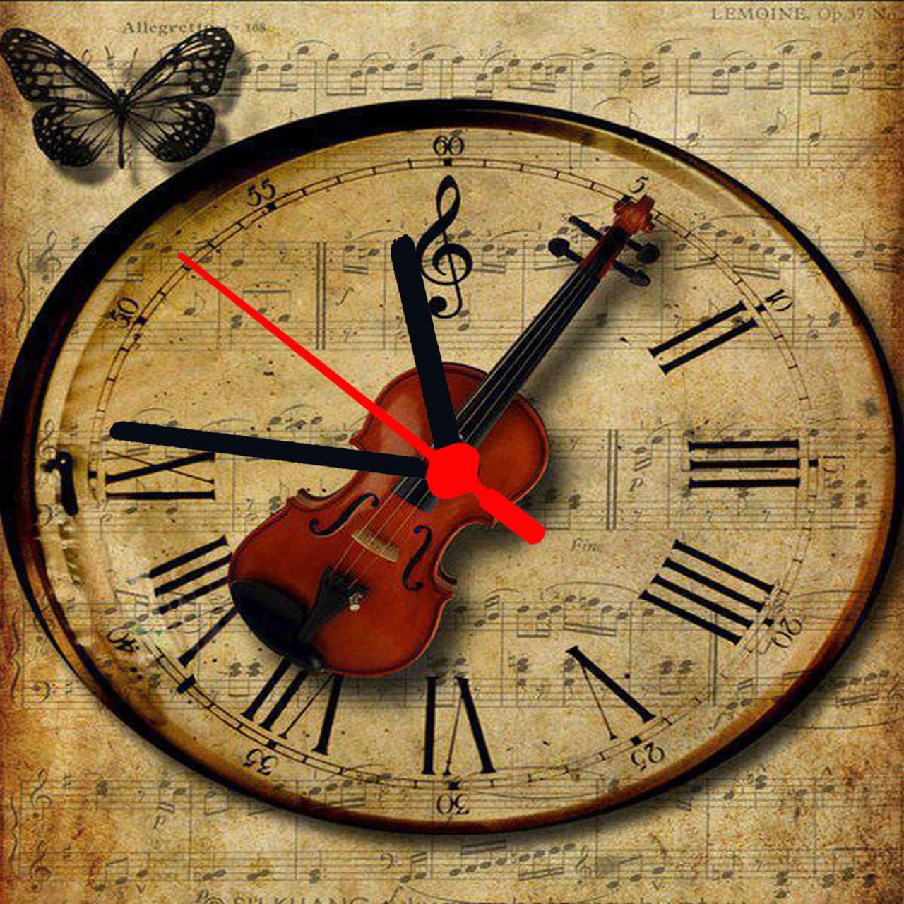"""Часы настенные  """"Скрипка"""" стеклянные"""