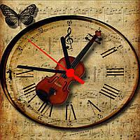 """Часы настенные  """"Скрипка"""" стеклянные , фото 1"""