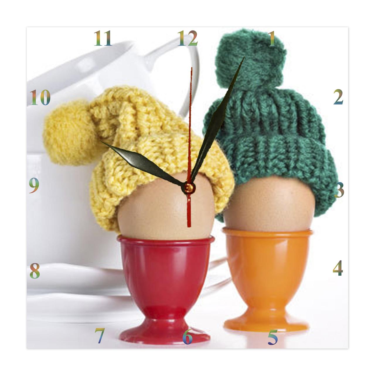 """Часы настенные  """"Яйца в смятку """" стеклянные"""