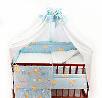 Детский постельный комплект, состоящий из 6 элементов, изготовлен из 100% хлопка (ранфорс)