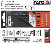 Набор сверло YATO свердло по металу HSS Ø=2-8 мм 6 штук YT-4460
