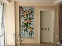 Витраж цветов в стене