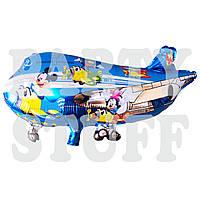 Фольгированный шар самолет, Микки и Минни голубой, 70 см
