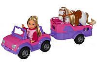 Кукла Evi на джипе с трейлером и конем Simba 5737460