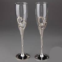 Свадебные бокалы для шампанского инкрустированные камнями