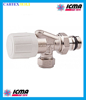 Двух угловой вентиль для радиатора ICMA 870, с возможностью установки термоголовки