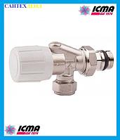 Двух угловой вентиль ICMA 866 с возможностью установки тэрмоголовки .