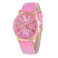Часы Geneva с кожанным ремешком розовые