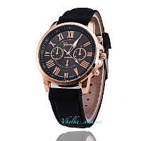 Часы Geneva с кожанным ремешком черные