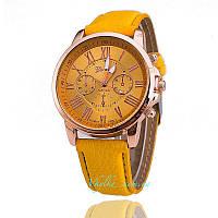 Часы Geneva с кожанным ремешком желтые