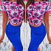 Женский красивый цветочный костюм: топ и юбка