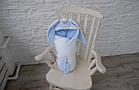 Летний конверт-одеяло на выписку Зайчик голубой