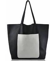 Женская кожаная сумка POOLPARTY MANIA DARKBLUE WHITE синяя с белым