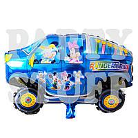 Фольгированная машина с Микки и Минни, голубая