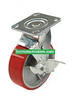 Колесо 590125 с поворотным кронштейном и тормозом (диаметр 125 мм)