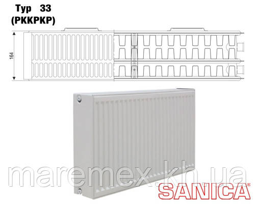 Стальной радиатор Sanica т33 300х500 (906Вт) - панельный
