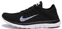Женские кроссовки Nike Free Run Flyknit 4.0 (найк фри ран) черные