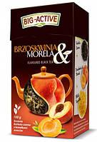 Чай черный листовой Big- Active Brzoskwinia Morela  с персиком и абрикосом 80г