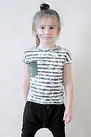 Трикотажная футболка в полоску. Унисекс. Размер 86, 92 см, фото 1