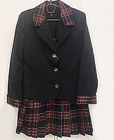 Трикотажный костюм для  девочки пиджак и юбка  № 11230 черного цвета