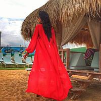 Женская пляжная накидка в пол с рукавами (расцветки)