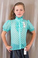 Модная нарядная бирюзовая блуза в белый горошек для девочки в школу
