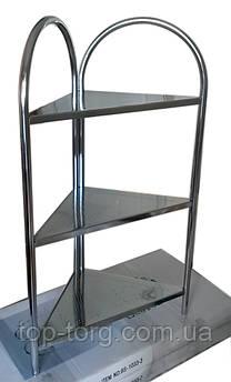 Полка этажерка в ванную угловая 1033-3 металлическая