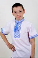 Вышиванка на мальчика с коротким рукавом вышивка синяя, фото 1