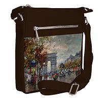 Коричневая сумка Покет с принтом Картина