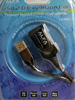 Удлинитель активный USB 2,0 (AM/AF) 10м  ALFA AUSBC-10M позволяет увеличить длину подключения по USB кабелю до 30м.
