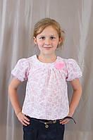 Модная нарядная летняя блуза на девочку из батиста, р.110-128