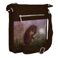 Коричневая сумка Покет с принтом Ежик в тумане