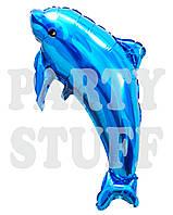 Шар фольгированный фигурный Дельфин синий, 65 см