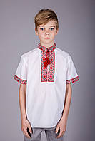 Вышиванка для мальчика с коротким рукавом вышивка красная
