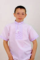 Вышиванка на мальчика с коротким рукавом вышивка белая, фото 1