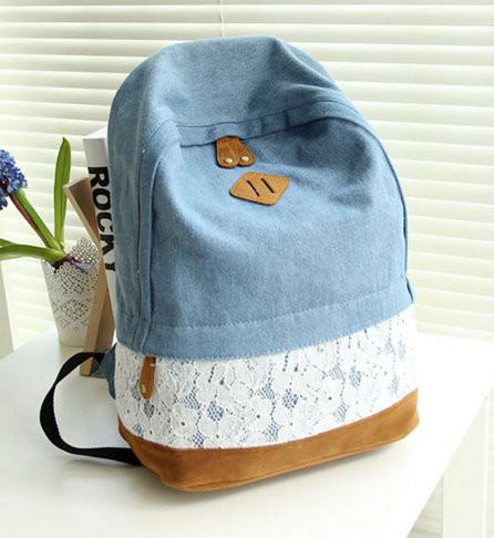 Молодежный джинсовый рюкзак с кружевом