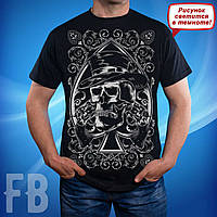Мужская футболка с черепом пиковый туз светится в темноте Skull Glowing in the dark