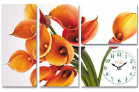 Часы настенные на холсте Цветок Калла 75*48см