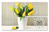 Часы настенные на холсте Тюльпаны 78*50см