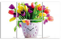 Часы настенные на холсте Тюльпаны 48*76см