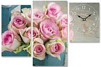 Часы настенные на холсте Розы 63*34см