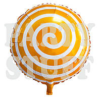 Фольгированный оранжевый шар Леденец, 44 см