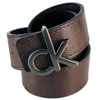 Ремень унисекс Calvin Klein двухсторонний из кожзама темно-коричневый/черный (8941)