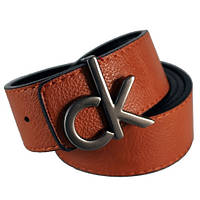 Ремень унисекс Calvin Klein двухсторонний из кожзама рыжий/черный (8942)