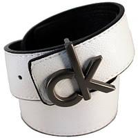 Ремень унисекс Calvin Klein двухсторонний из кожзама белый/черный (8943)