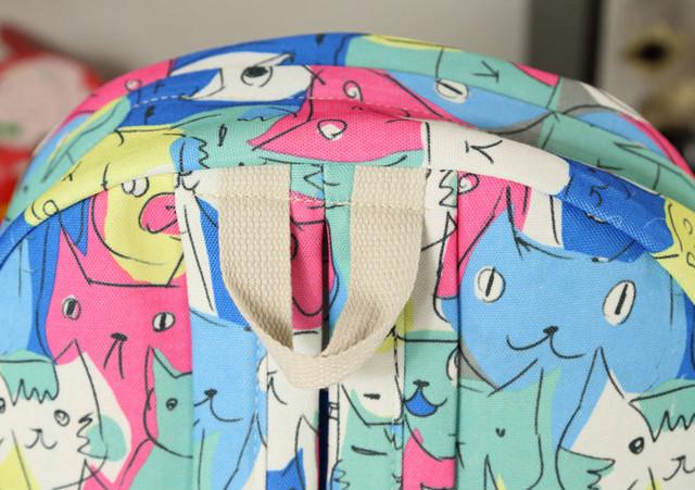 школьный рюкзак с принтом котиков