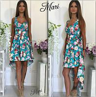 Красивое асимметричное платье с цветами 464 (м176)